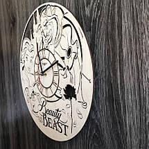 Круглые оригинальные настенные часы из дерева Красавица и чудовище CL-0271, фото 2