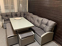 Комплект мебели из техноротанга GARMONIYA, диваны, пуфы, стол, садовая мебель, мебель из ротанга, фото 1