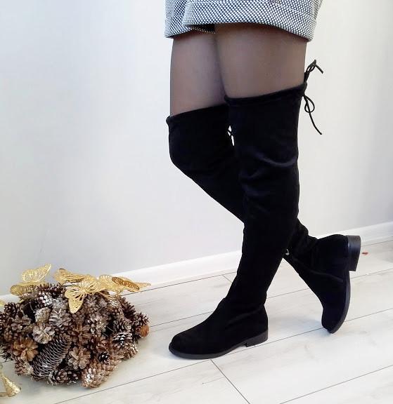 Ботфорти жіночі чорні демісезонні екозамша на низькому каблуку 40р
