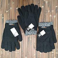 Перчатки мужские двойные шерсть с густой махрой зимние  Корона 24см  чёрные  ПМЗ-1620