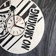 Бесшумные настенные часы из дерева круглые NO SMOKING CL-0296, фото 2