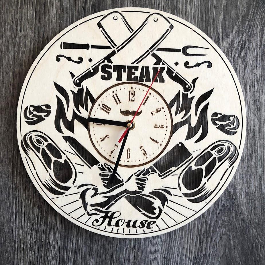 Тематичні настінні годинники з дерева Steak House CL-0299