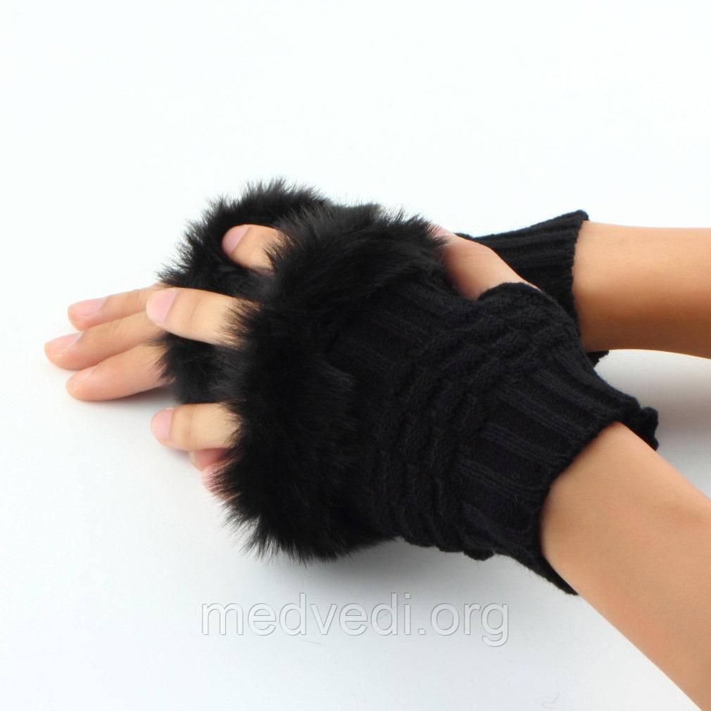 Черные женские вязанные митенки с мехом, длина 15см