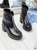 39 р. Ботинки женские зимние черные кожаные на среднем каблуке, из натуральной кожи, натуральная кожа, фото 1