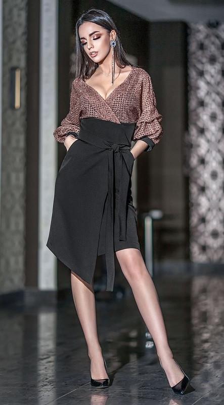 Женское платье миди с глубоким декольте 42-48 р Ванесса, женские нарядные платья оптом от производителя