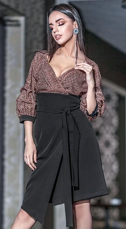 картинка бежево-черное платье Ванесса