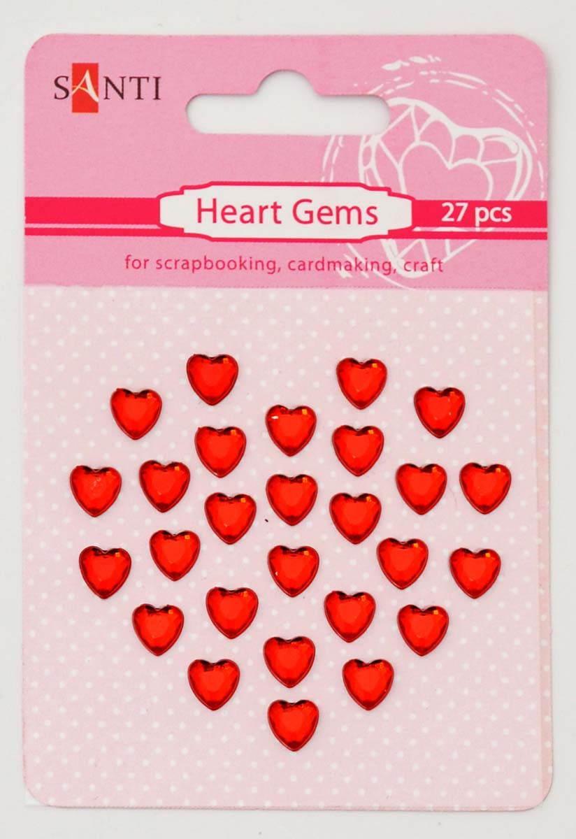 Стразы Santi самоклеющиеся 27шт Красные сердца 952652