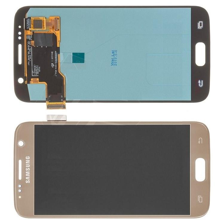 Дисплей для Samsung G930F Galaxy S7 модуль в сборе с тачскрином, золотистый, оригинал (переклеенное стекло)