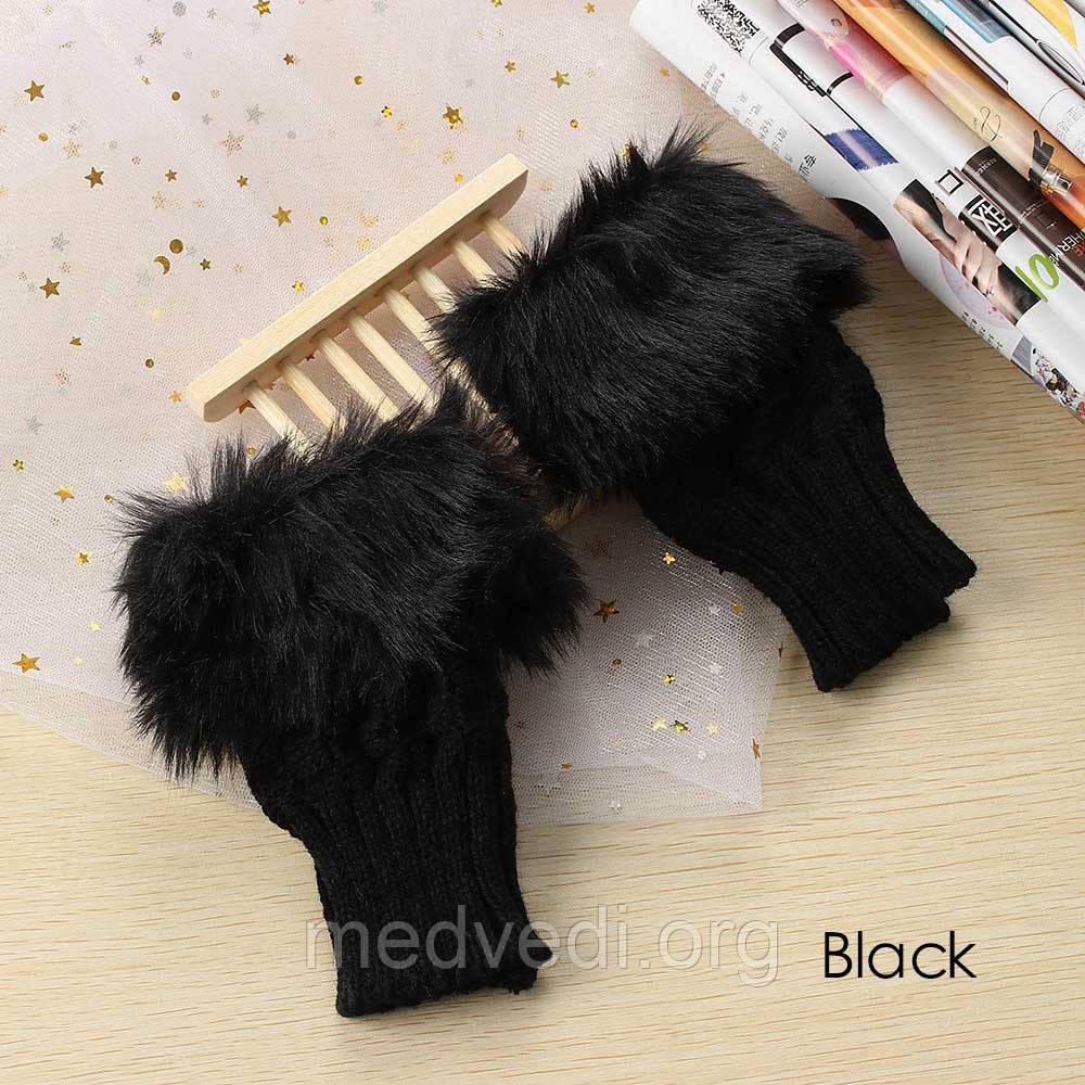 Короткие черные митенки с мехом, перчатки без пальцев