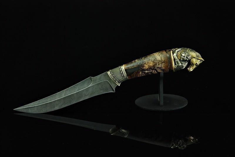 """Авторський колекційний ніж з бивнів мамонта """"Sincerity"""", дамаск"""