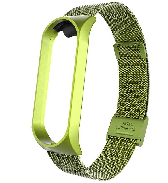 Металлический браслет миланская петля для фитнес трекера Xiaomi mi band 4 / 3 Цвет Зелёный