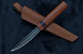 Эвенкийский нож ручной работы из дамасска с рукоятью из змеиного дерева (лайсвуд), фото 2