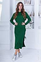 Женское стильное длинное платье с разрезами тёплая вязка