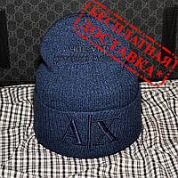 Красивая Женская вязаная шапка Armani Exchange синяя Новинка 2019 года шапка лопатка Красивая Модная реплика