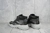 Женские ботинки кожаные зимние черные-серые BENZ 70602.2