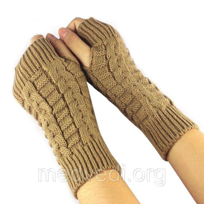 Бежевые вязаные митенки, женские перчатки без пальцев