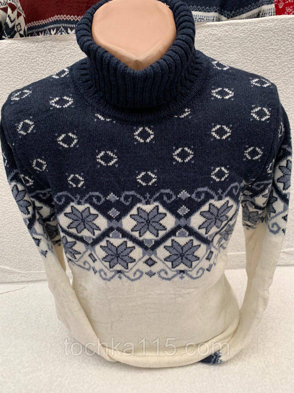Стильный мужской теплый свитер (вязка)
