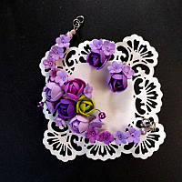 Сиреневый браслет и серьги, фото 1