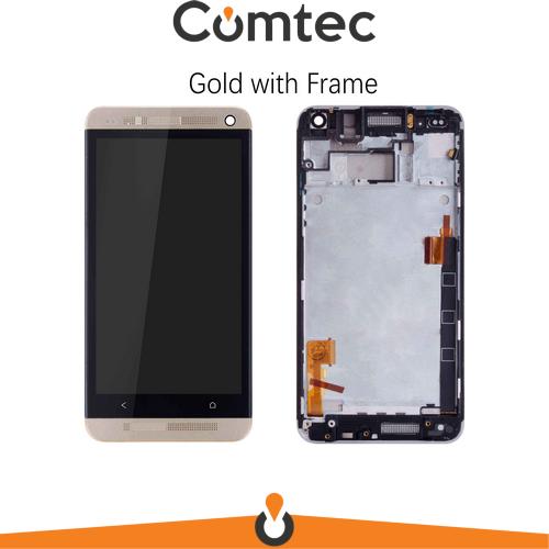 Дисплей для HTC 801e One M7 с тачскрином (Модуль) черный, с передней панелью (рамкой) золотистого цвета