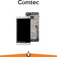 Дисплей для HTC One M8 с тачскрином (Модуль) черный, с передней панелью (рамкой) белого цвета