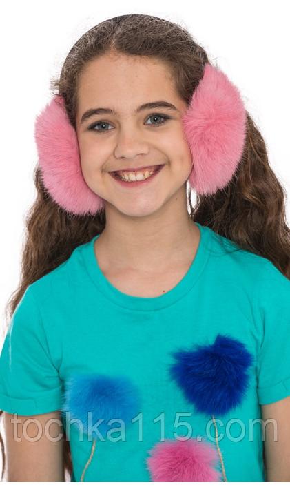 Теплые меховые наушники, натуральный мех, теплые ушки (нежно-розовый)