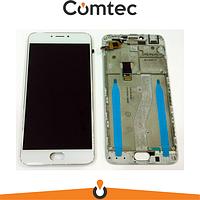 Дисплей для Meizu M3 Note (L681H) с тачскрином (Модуль) белый, с передней панелью (рамкой), 30 pin