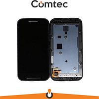 Дисплей для Motorola XT1021 Moto E/XT1022/XT1023/XT1025 с тачскрином (Модуль) черный, с передней панелью (рамкой)