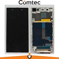 Дисплей для Sony C6902 Xperia Z1 L39h/С6903/С6906/С6943 с тачскрином (Модуль) белый, с передней панелью (рамкой), оригинал