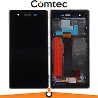 Дисплей для Sony C6916 Xperia Z1s L39t с тачскрином (Модуль) черный, с передней панелью (рамкой), оригинал