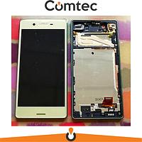 Дисплей для Sony F8131 Xperia X Performance/F8132 с тачскрином (Модуль) золотистый, Lime Gold, с передней панелью (рамкой), оригинал