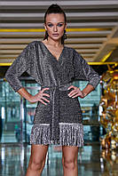 Красивое модное нарядное платье на Новый год цвет: антрацит, размер: S, M, L, XL