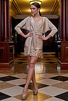 Красивое модное нарядное платье на Новый год цвет: персиковый, размер: S, M, L, XL