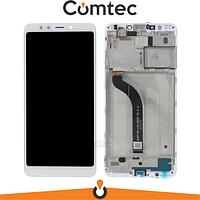 Дисплей для Xiaomi Redmi 5 с тачскрином (Модуль) белый, с передней панелью (рамкой)