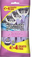 Wilkinson Women Одноразовые станки Sword Xtreme 3 Beauty в упаковке 4 + 4 шт
