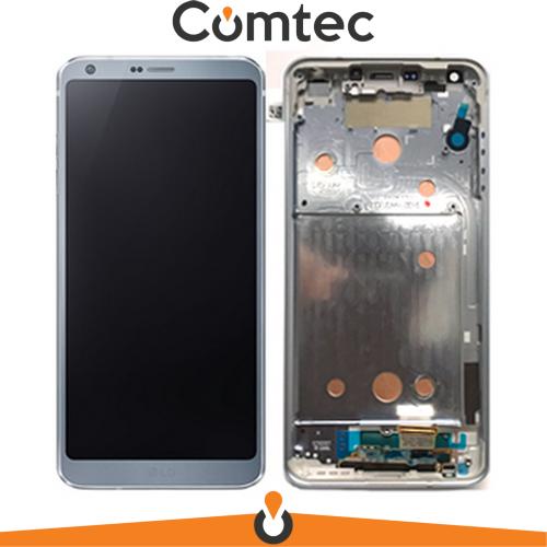 Дисплей для LG H870 G6/H871/H872/H873/LS993/US997/VS998 с тачскрином (Модуль) платиновый, Platinum, с передней панелью (рамкой), оригинал