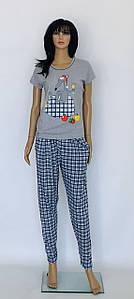 Хлопковая серая пижама футболка и штаны с крысой 46-52 р