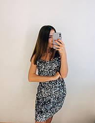 Короткое платье - майка из пайетки на бретельках vN5535