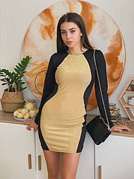 Двухцветное трикотажное платье с длинным рукавом и выше колена vN5537