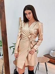 Кожаное платье на запах с длинным рукавом и поясом vN5538
