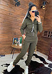 Жіночий утеплений спортивний костюм з бомбером на блискавці vN5547, фото 2