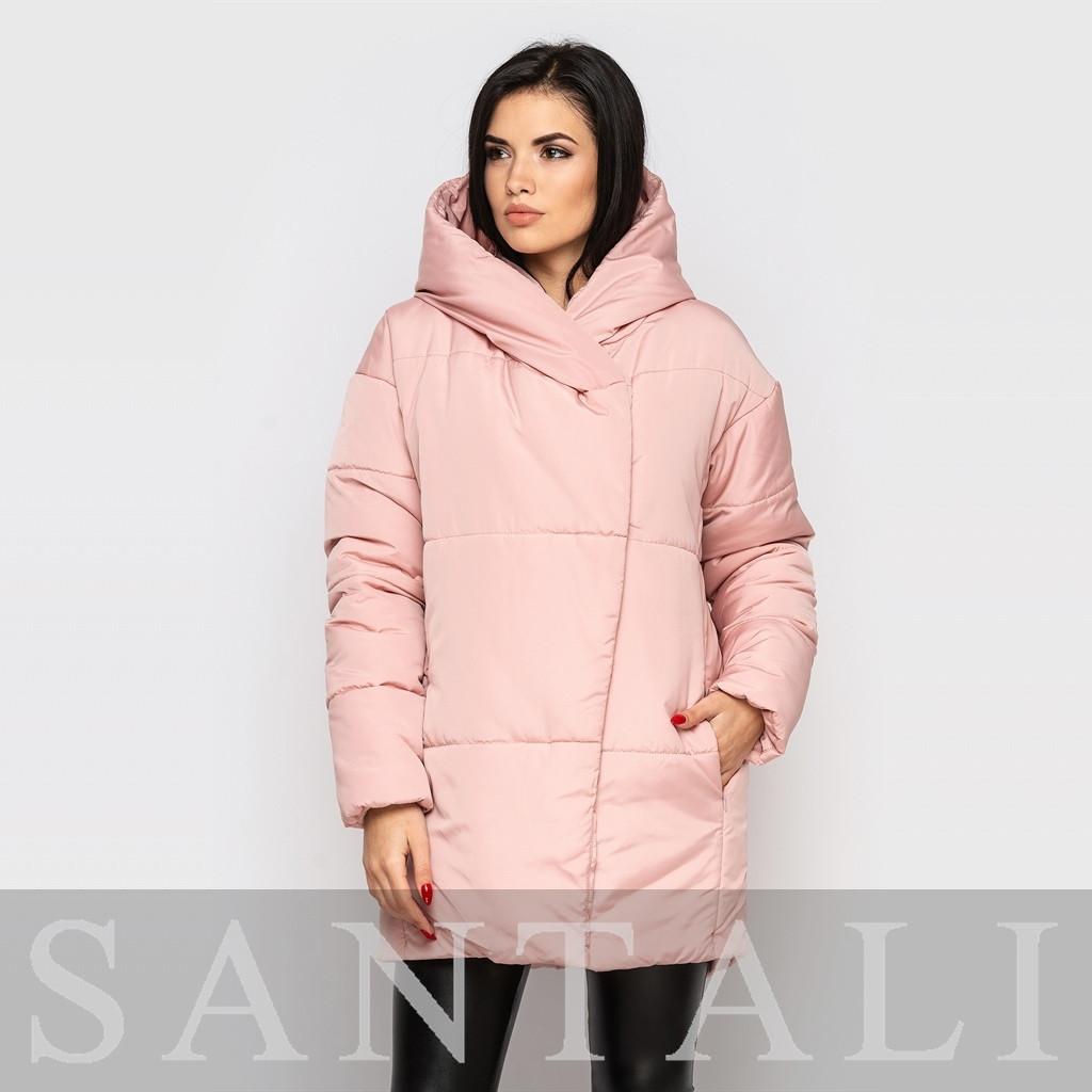 Женская теплая зимняя куртка с капюшоном и наполнителем из биопуха vN5671