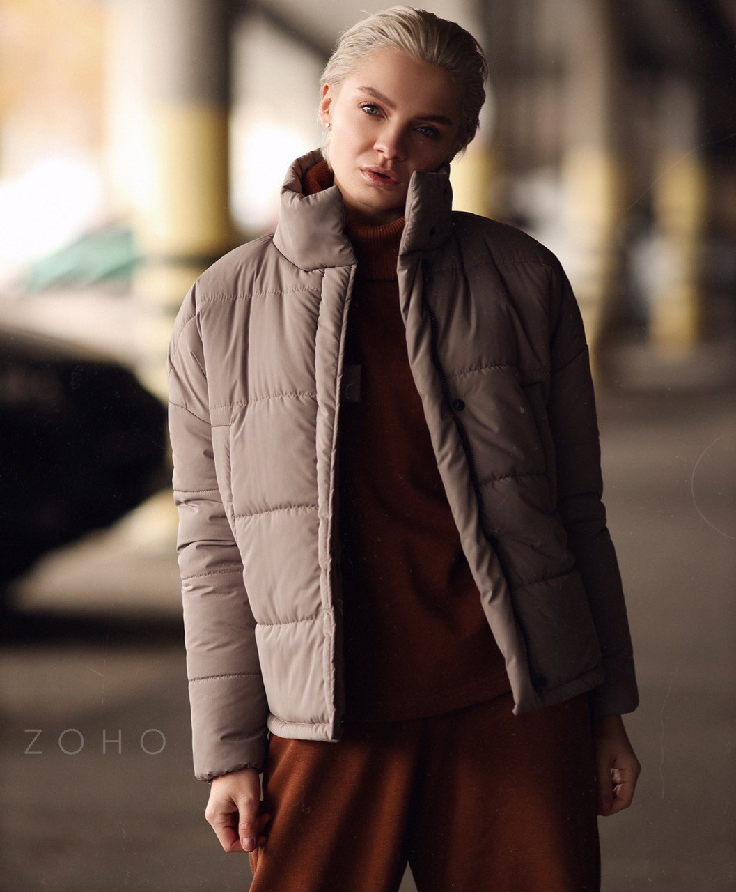 Короткая теплая зимняя женская куртка с воротником - стойкой vN5673