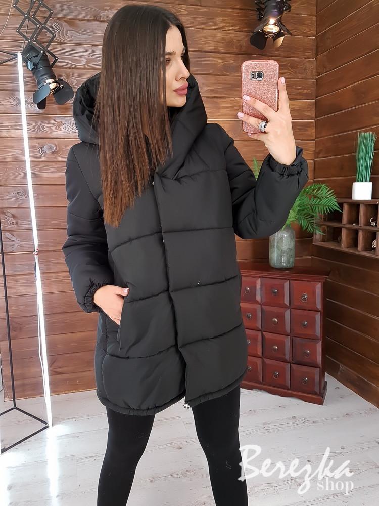 Женская куртка зимняя зефирка на кнопках с капюшоном и карманами vN5674