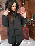 Женская куртка зимняя зефирка на кнопках с капюшоном и карманами vN5674, фото 2