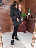 Женская куртка зимняя зефирка на кнопках с капюшоном и карманами vN5674, фото 3