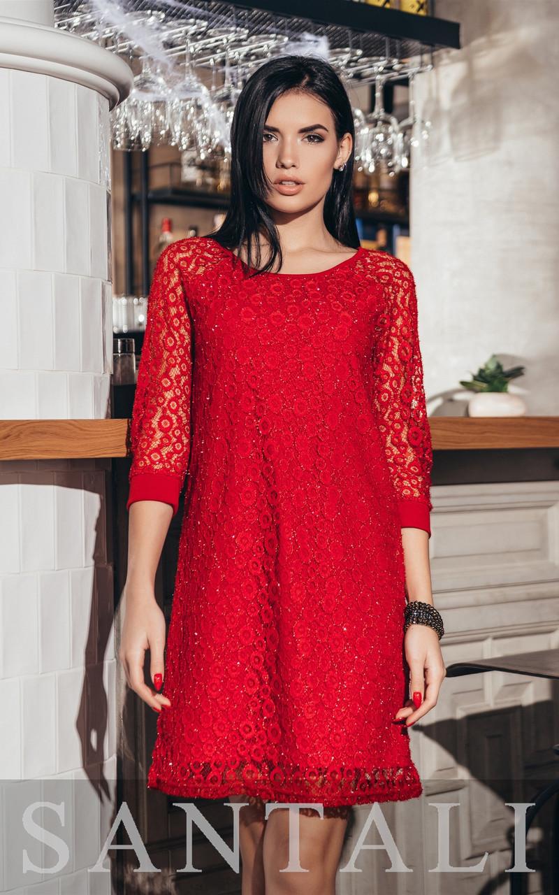 Платье - трапеция из гипюра на подкладе с рукавом 3/4 vN5678