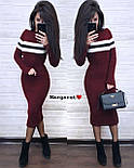 Вязаное платье миди облегающего фасона с длинным рукавом vN5686, фото 3