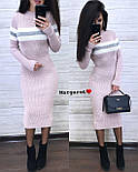 Вязаное платье миди облегающего фасона с длинным рукавом vN5686, фото 4