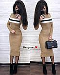 Вязаное платье миди облегающего фасона с длинным рукавом vN5686, фото 5