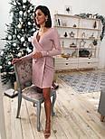 Платье из трикотажа рубчик с люрексом с имитацией запаха vN5691, фото 2